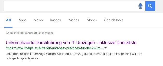 Google SERP. Bessere Anzeige.