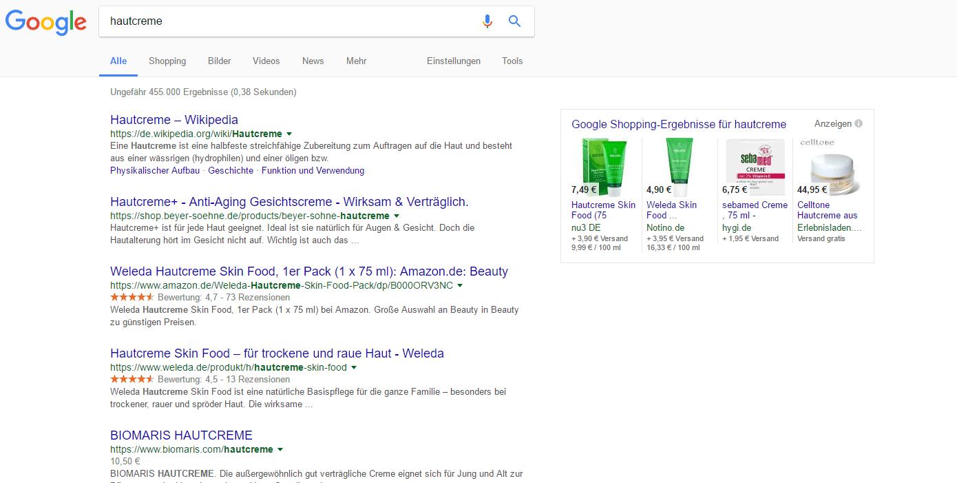 Google SERP: Hautcreme