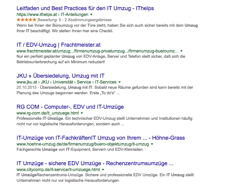 Google SERP: IT Umzug