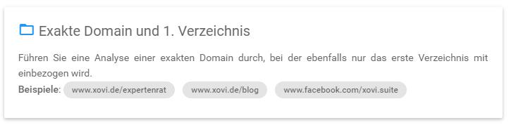 Smartinput: Exakte Domain, erstes Verzeichnis
