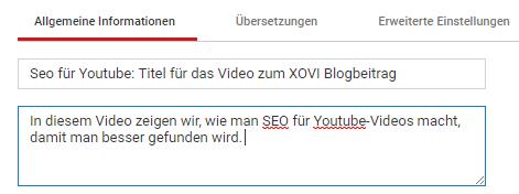 Youtube Titel Beschreibung