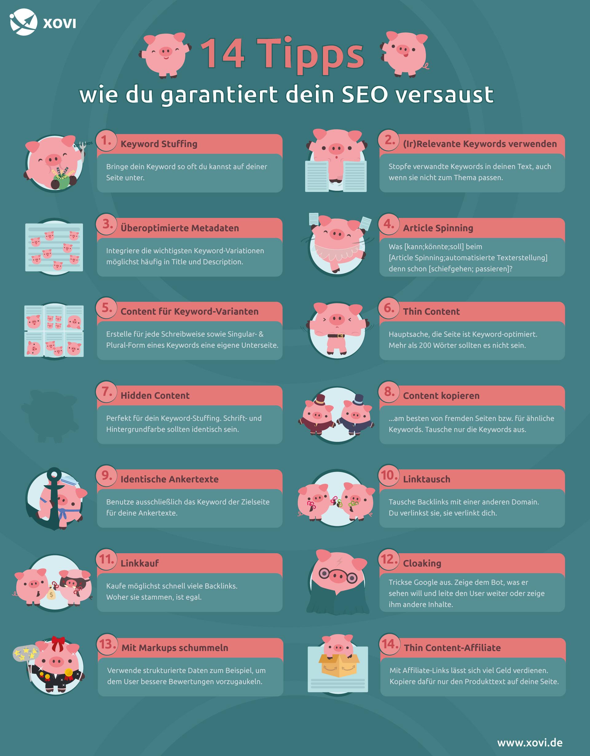 Checkliste mit 14 SEO-Maßnahmen, die vermieden werden sollten