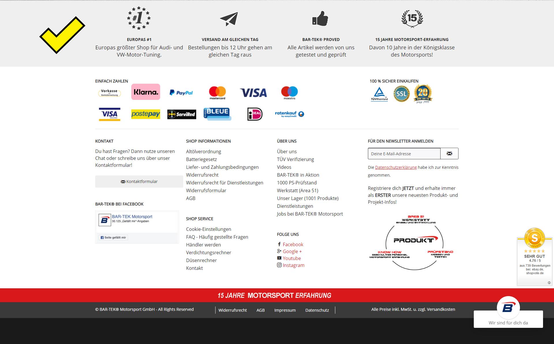 Screenshot von bar tek mit USPs im Footer