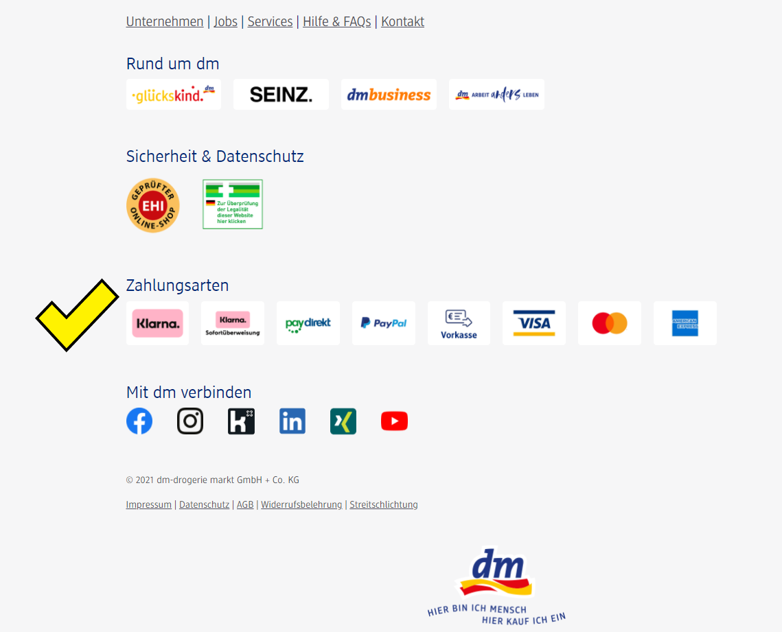 Screenshot des Footers von dm.de mit Zahlungsarten