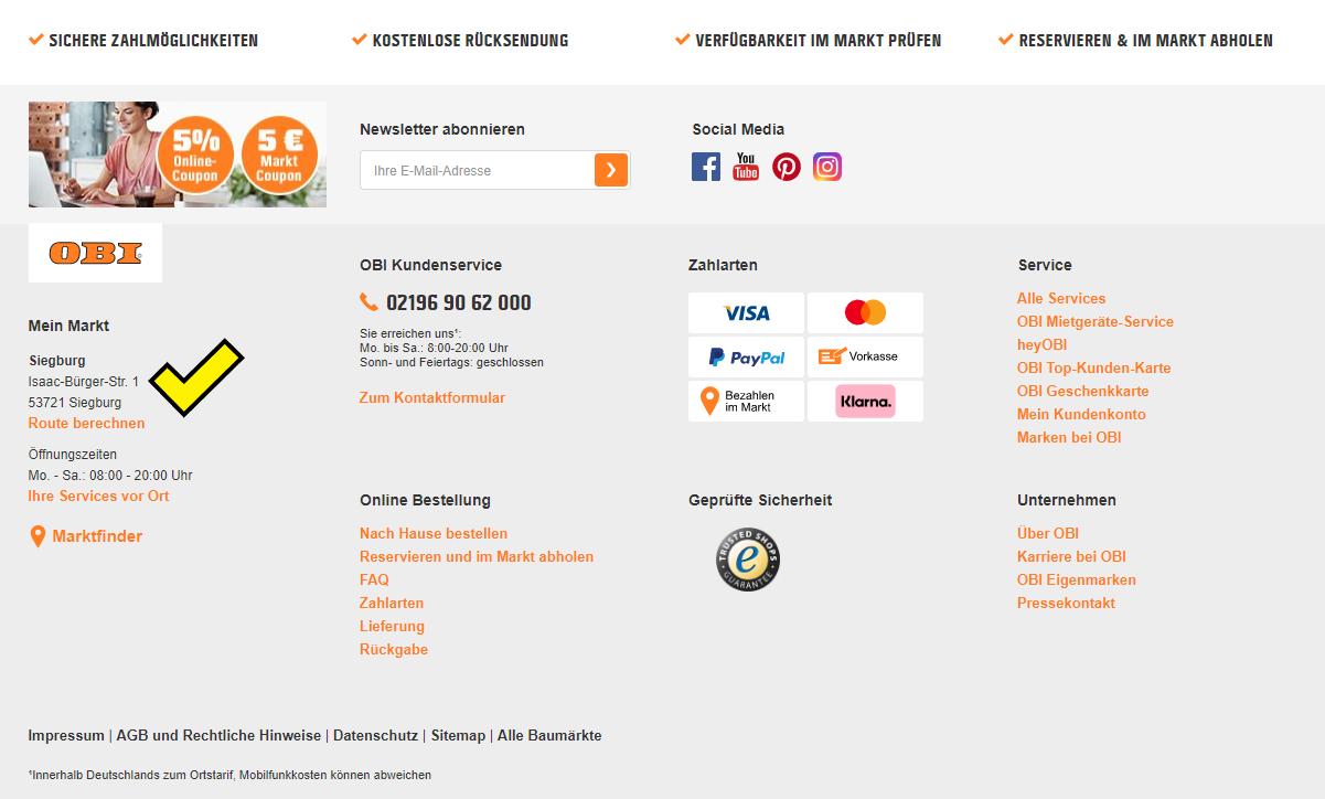 Screenshot des Footers von obi.de mit Standort in der Nähe