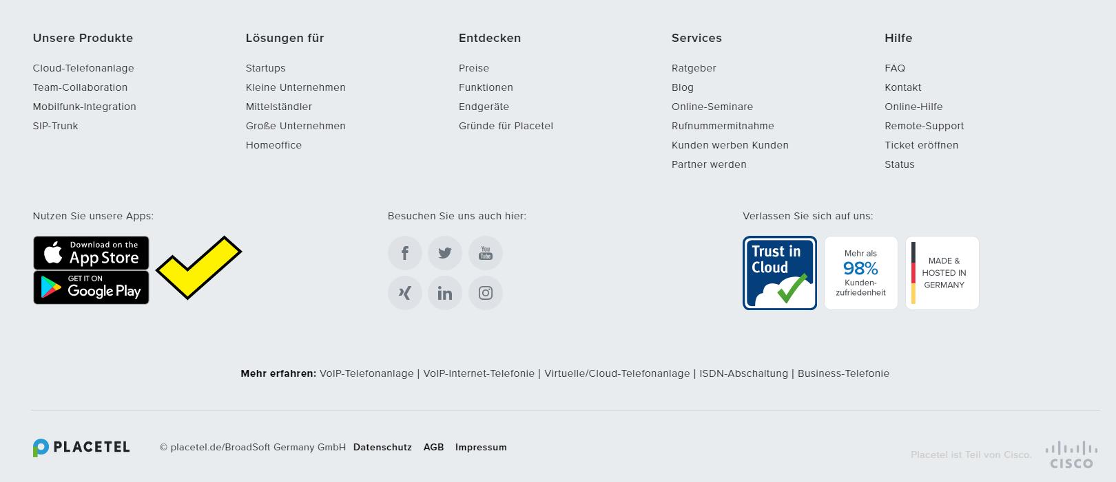 Screenshot con placetel.com mit App-Bewerbung im Footer