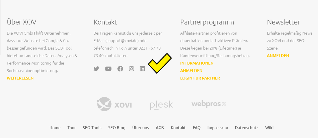 Screenshot des XOVI Footers mit Logos der Social Media Kanäle