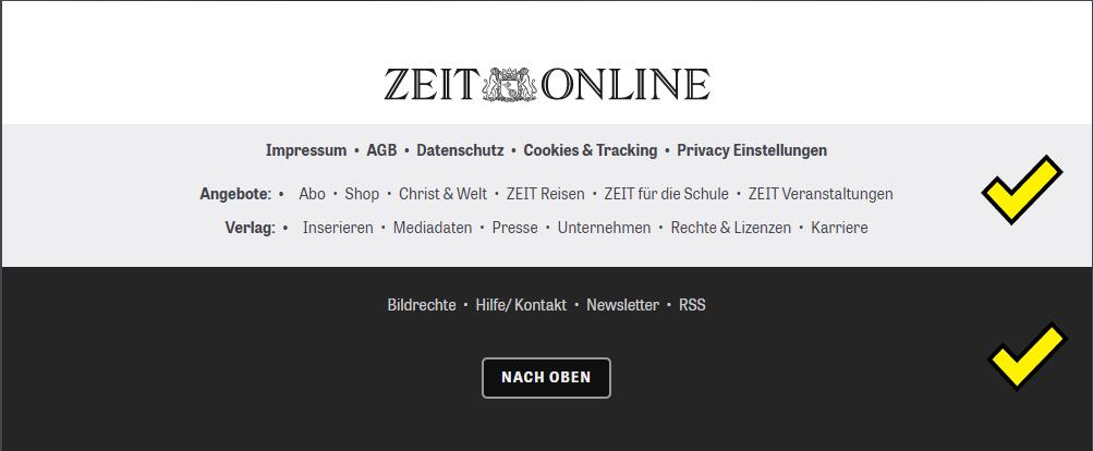 Screenshot des Footers der Zeit Online