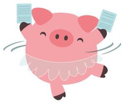 Ballerina-Schweinchen mit identischen Dokumenten in den Händen