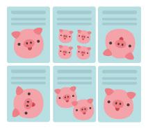 Sechs Dokumente mit Schweinchen