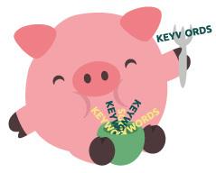 Kleines Schweinchen, das sich mit Keywords vollstopft