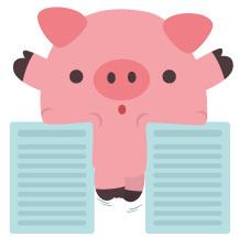 Schweinchen, das zwischen zwei Dokumente gepresst ist