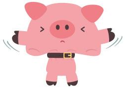 Schweinchen mit eng geschnalltem Gürtel