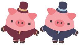 Identische Schweine in unterschiedlicher Kleidung
