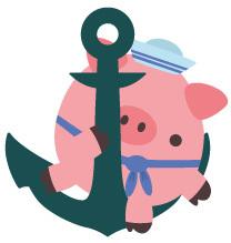 Marine-Schweinchen auf einem Anker