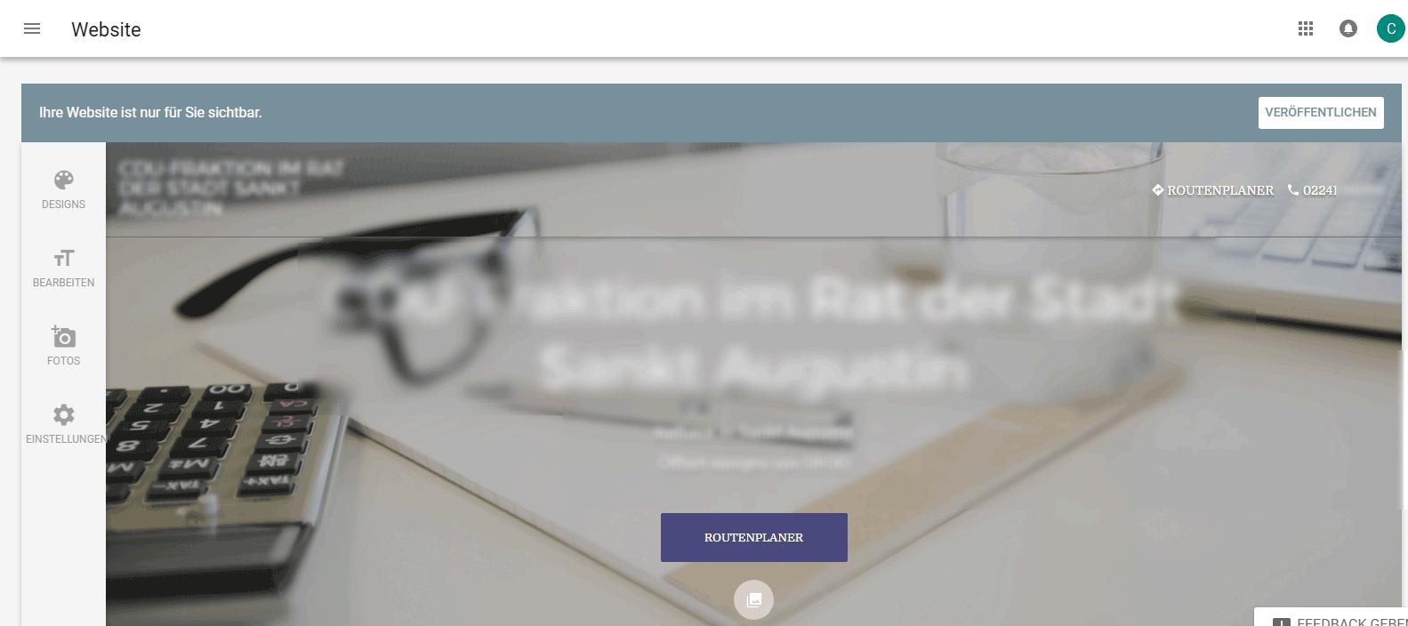 MyBusiness neue Website bearbeiten