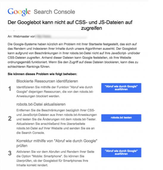 Search Console Tipps für CSS und JS Dateien