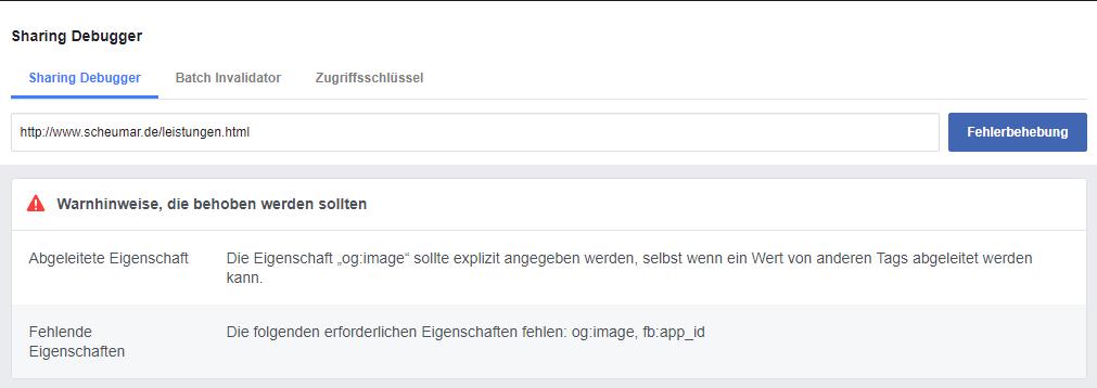Fehler Anzeige des Facebook Debugger