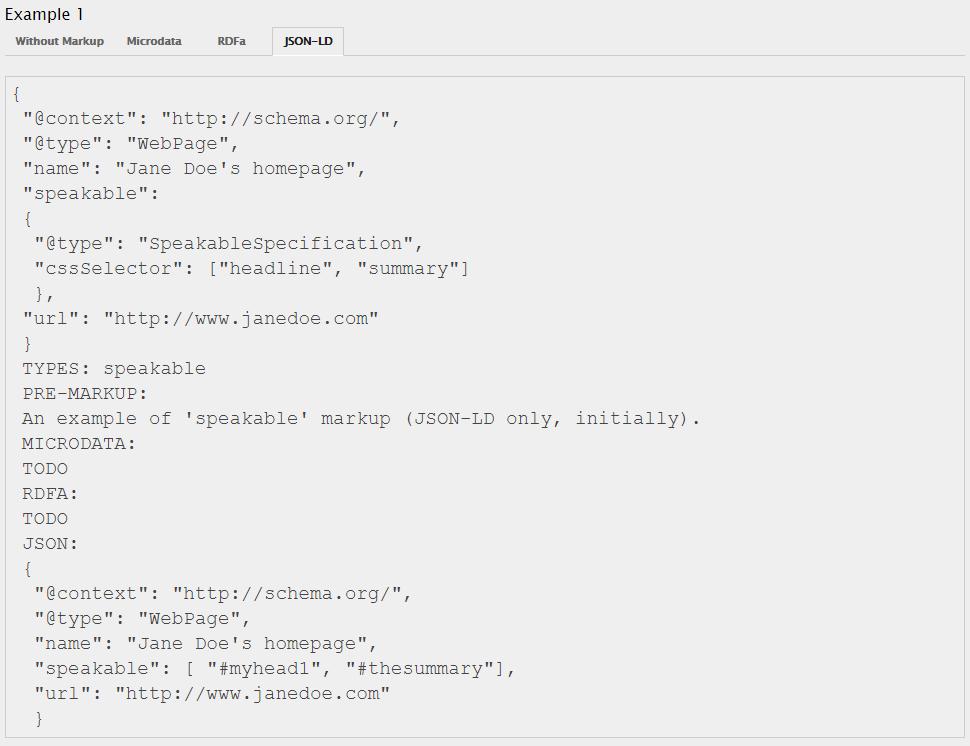 Screenshot JSON-LD für Speakable Markup Schema.org