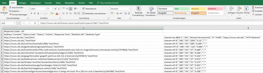 Externe Daten in Xovi Suite einbetten Screaming Frog Excel Datei