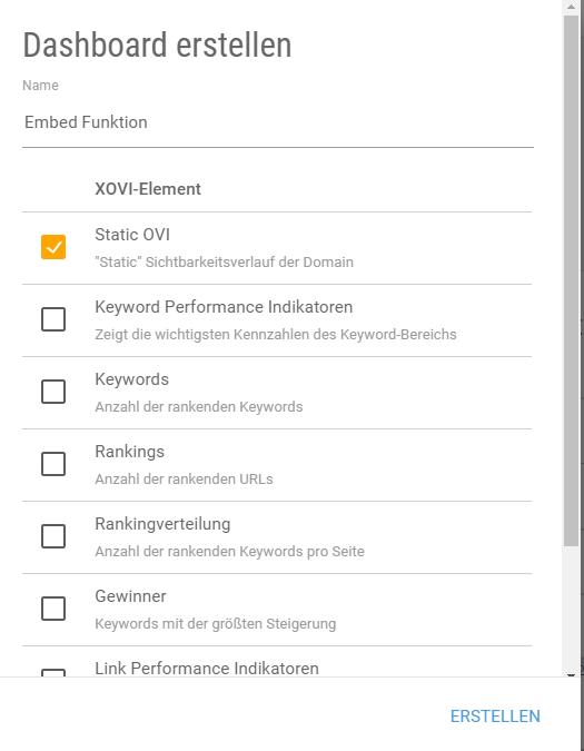 Externe Daten einbetten XOVI individuelles Dashboard erstellen