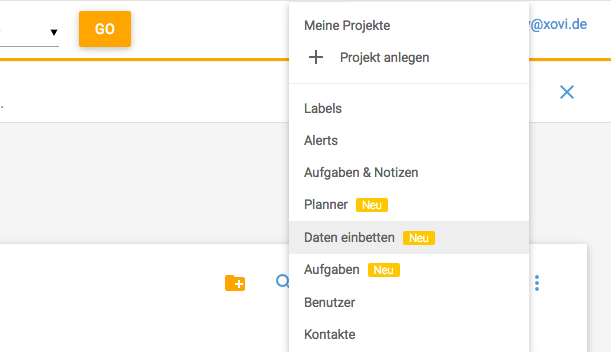Externe Daten in XOVI einbetten Dropdown Meine Projekte Daten einbetten