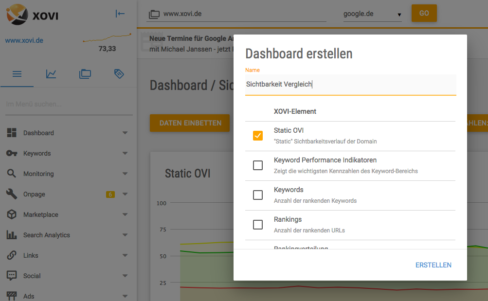 Externe Daten einbetten: XOVI Dashboard erstellen