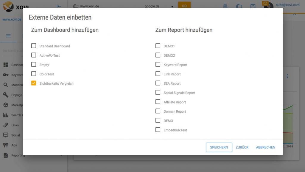 Externe Daten einbetten XOVI Suite Auswahl