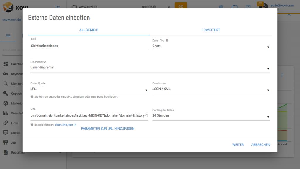 Externe Daten einbetten XOVI Suite Embed Dialog