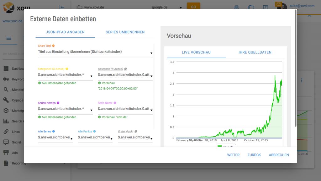 Externe Daten einbetten in XOVI Suite Live Vorschau