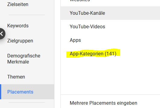 Google Ads: Auswahl der Placements - App Kategorien sind jetzt ausgeschlossen