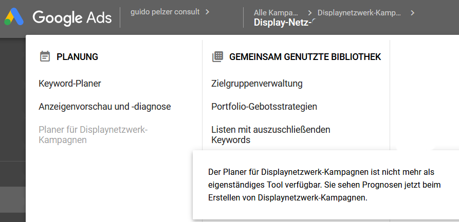 AdWords schafft den Planer für Display ab