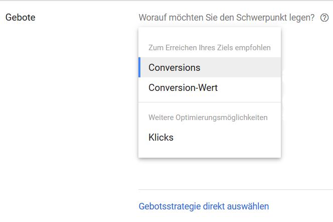 Auswahlfenster der Google Ads gebotsstrategien