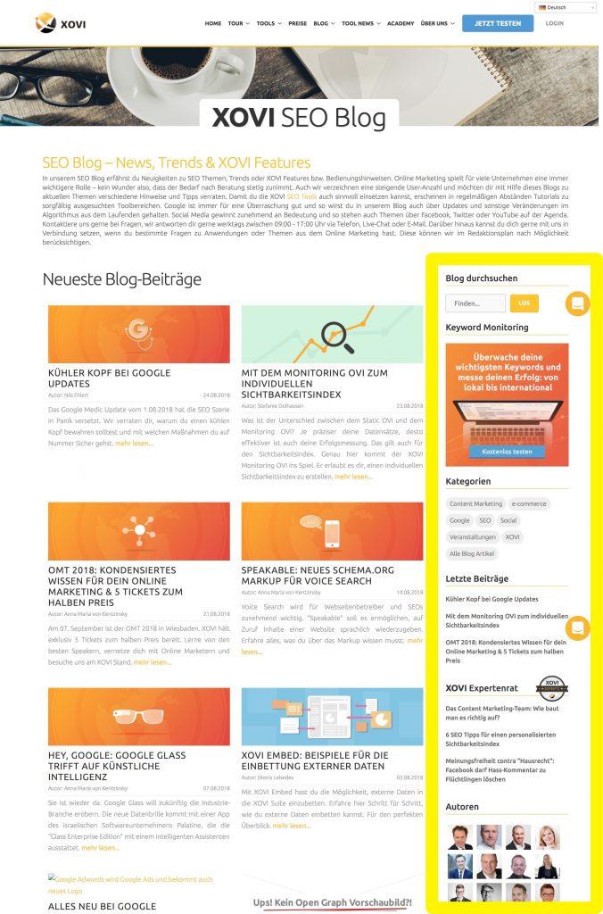 Enthält Angebote und Zusatzinfos: Die rechte Sidebar des XOVI Blogs