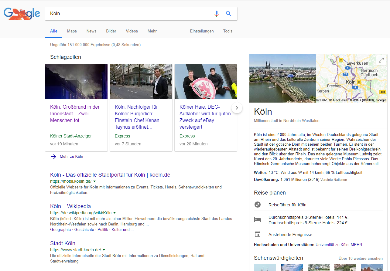 """Screenshot der SERPs zum Keywort """"Köln"""""""