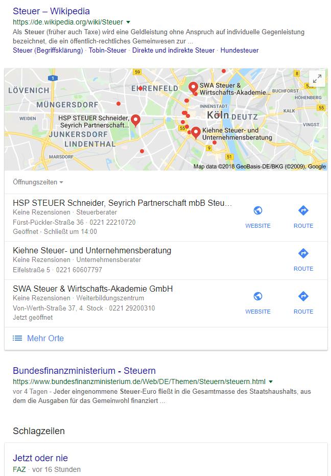 Screenshot Google SERPs zum Keyword Steuer
