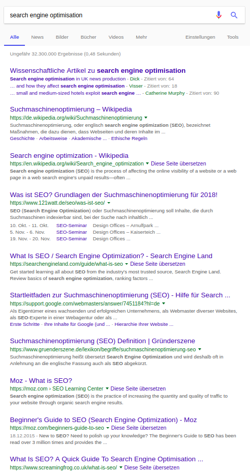 "Screenshot SERP ""searchengine optimisation"""