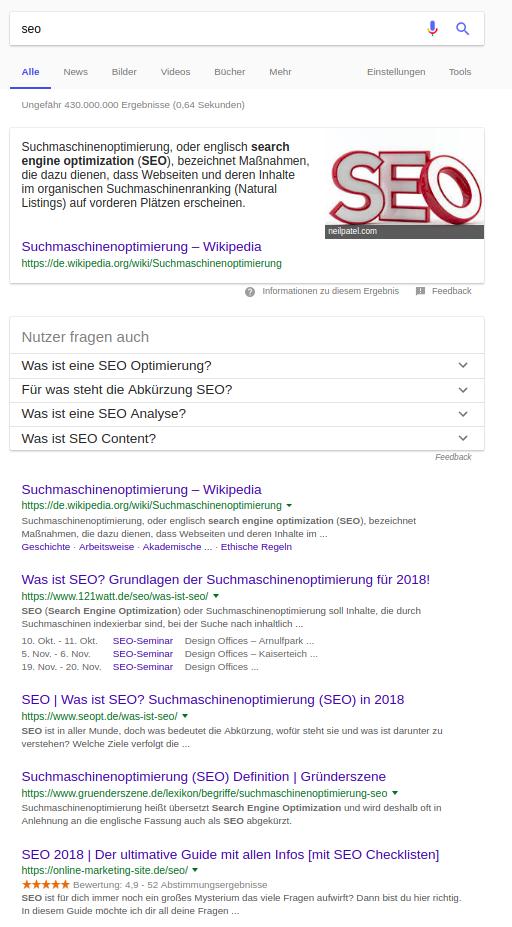 """SERP zu """"SEO"""""""
