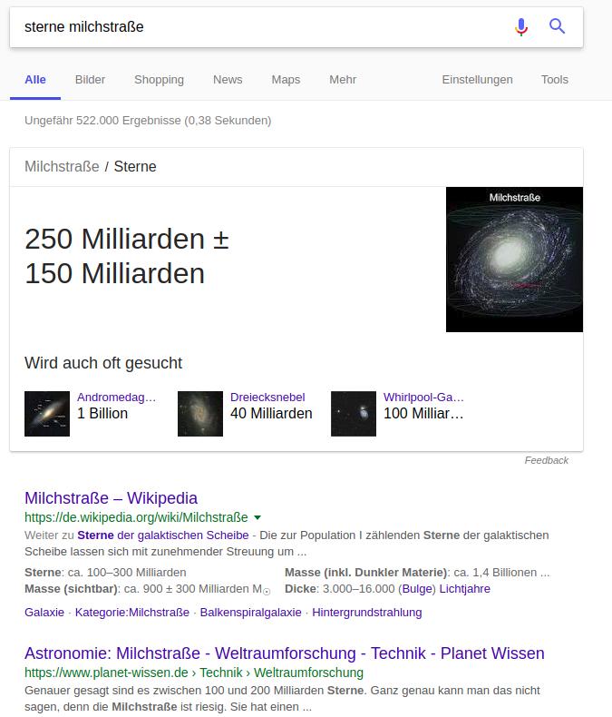 """Screenshot mit Featured Snippet zu """"wie viele sterne gibt es in der milchstraße"""""""