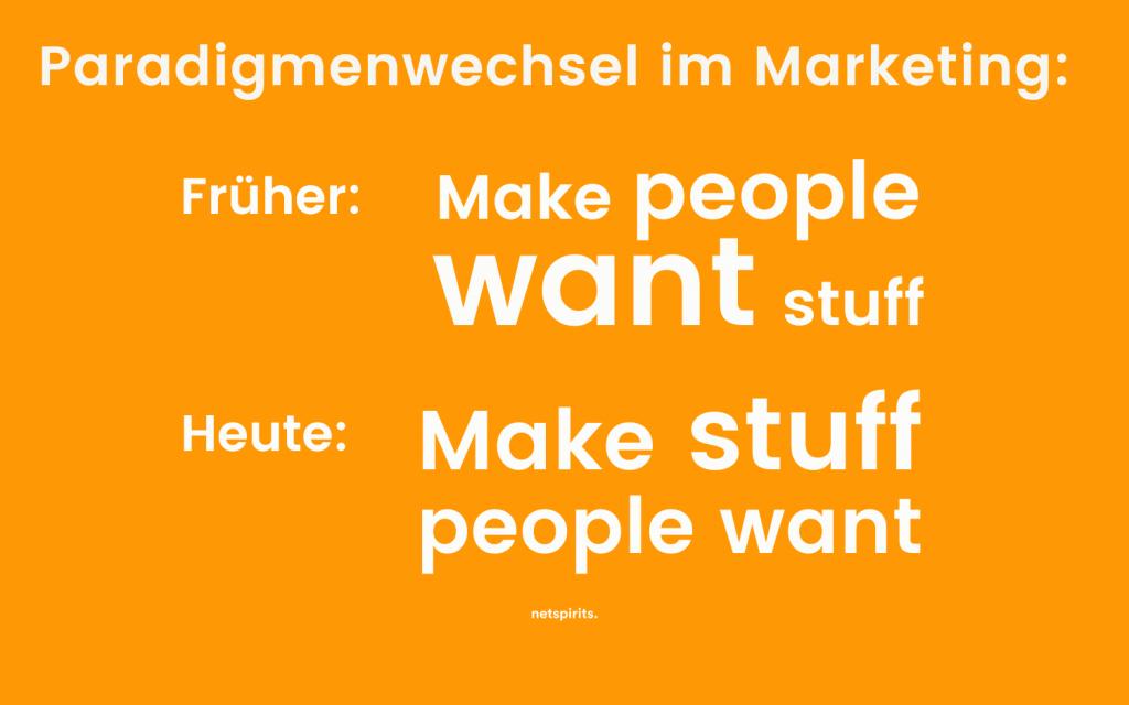 Veränderung des Fokus im Marketing hin zum Kundenbedürfnis