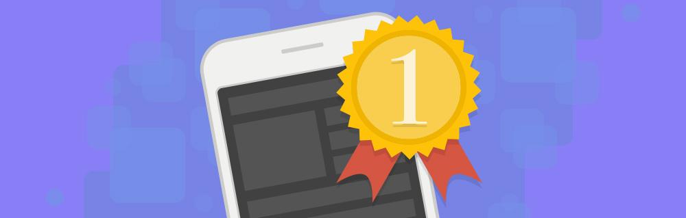 Smartphone mit einer 1. Platz-Medaille