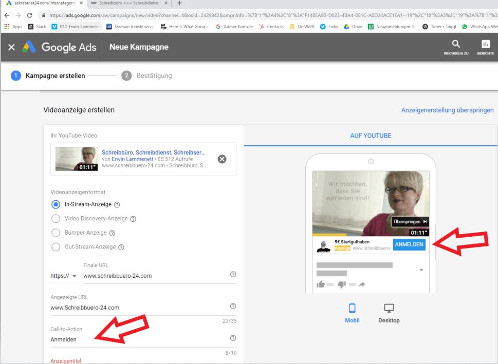 Screenshot Google Ads Videoanzeige erstellen CTA Button erstellen