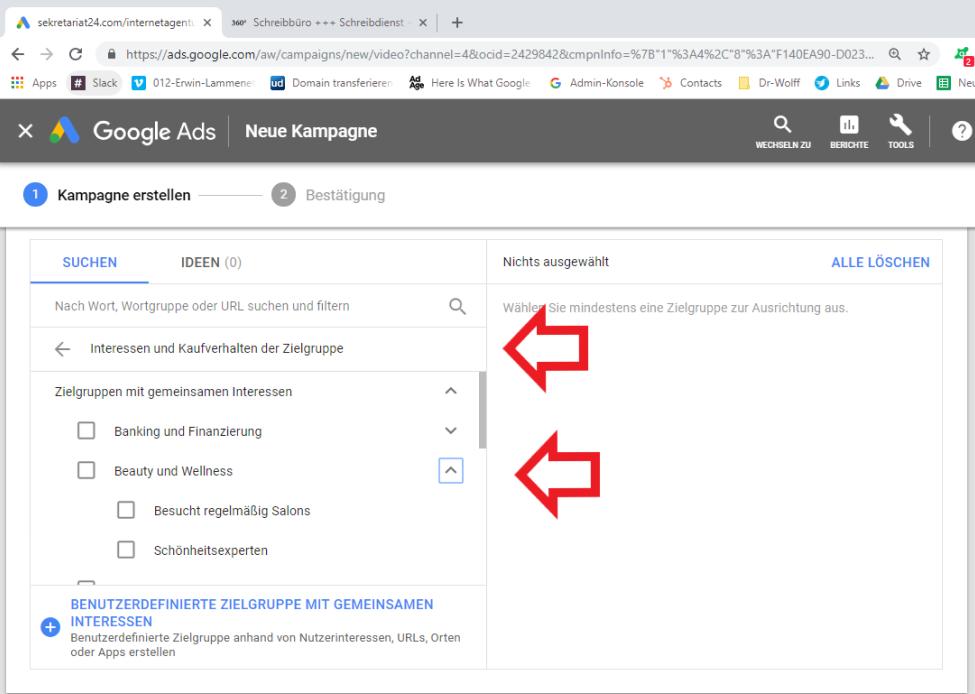 Screenshot Google Ads Kampagne für Videoanzeigen erstellen Aussteuerung an Verbraucherverhalten