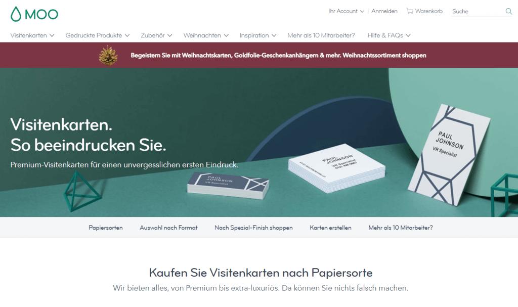 Screenshot moo Visitenkarten Startseite