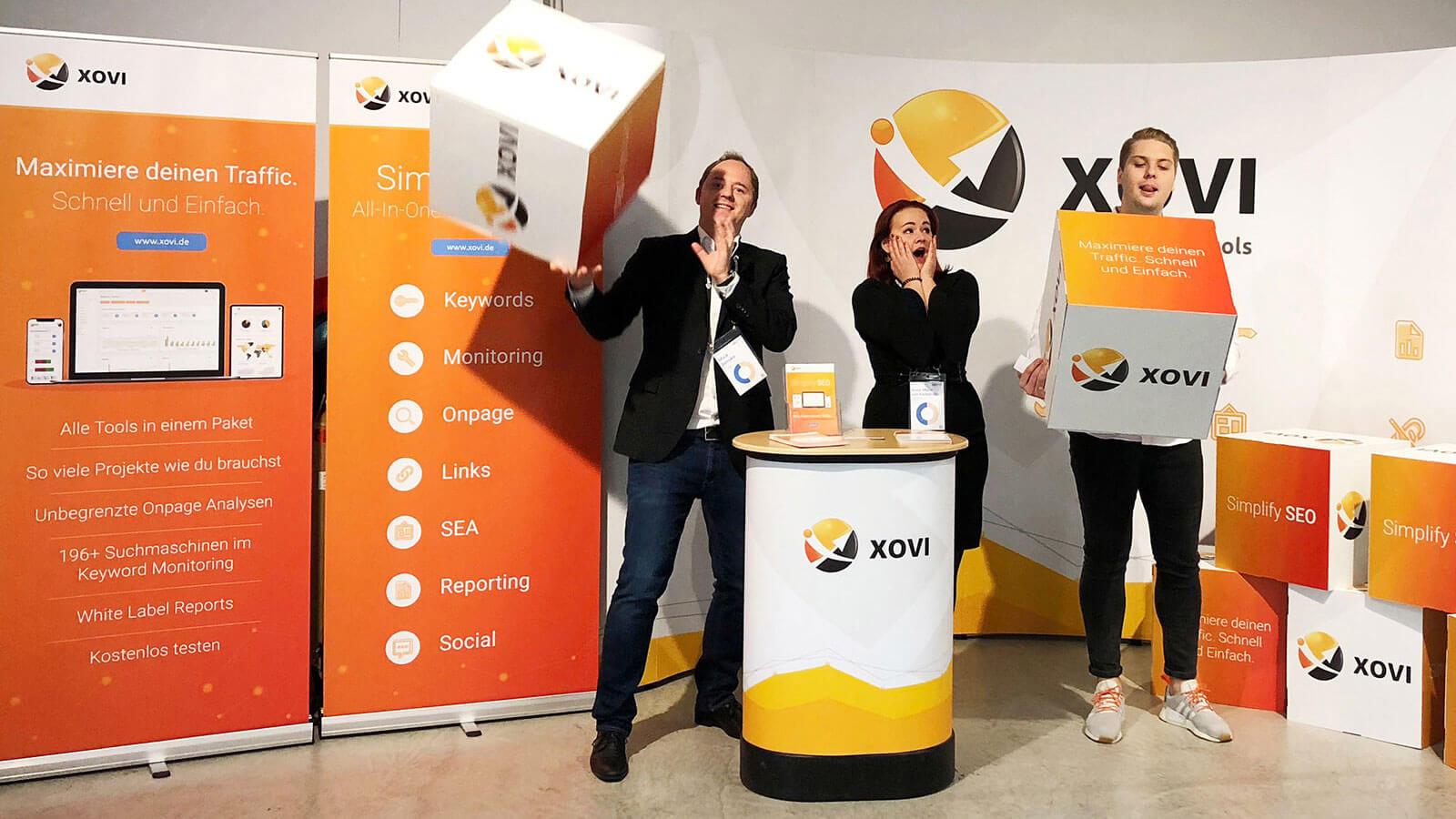Foto vom XOVI Stand auf der SEOkomm und OMX Salzburg 2018