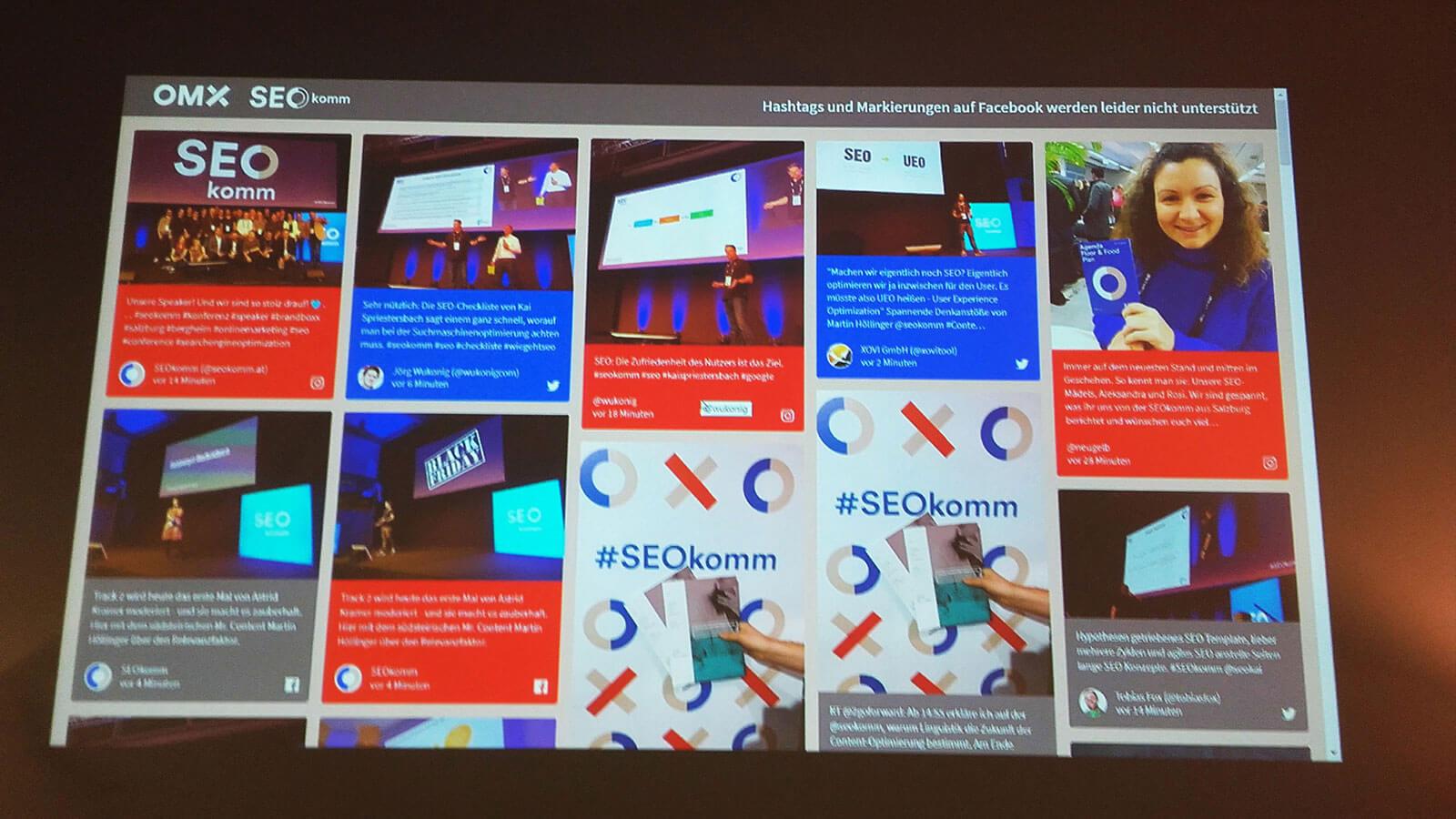 Wall of Social Media Fame SEOkomm und OMX Salzburg 2018