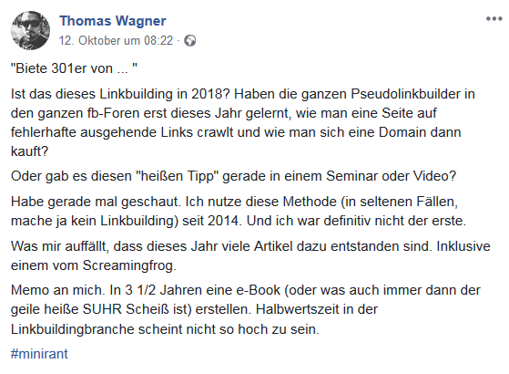 Diskussion in einer Facebook Gruppe zum Thema 301 Linkbuilding