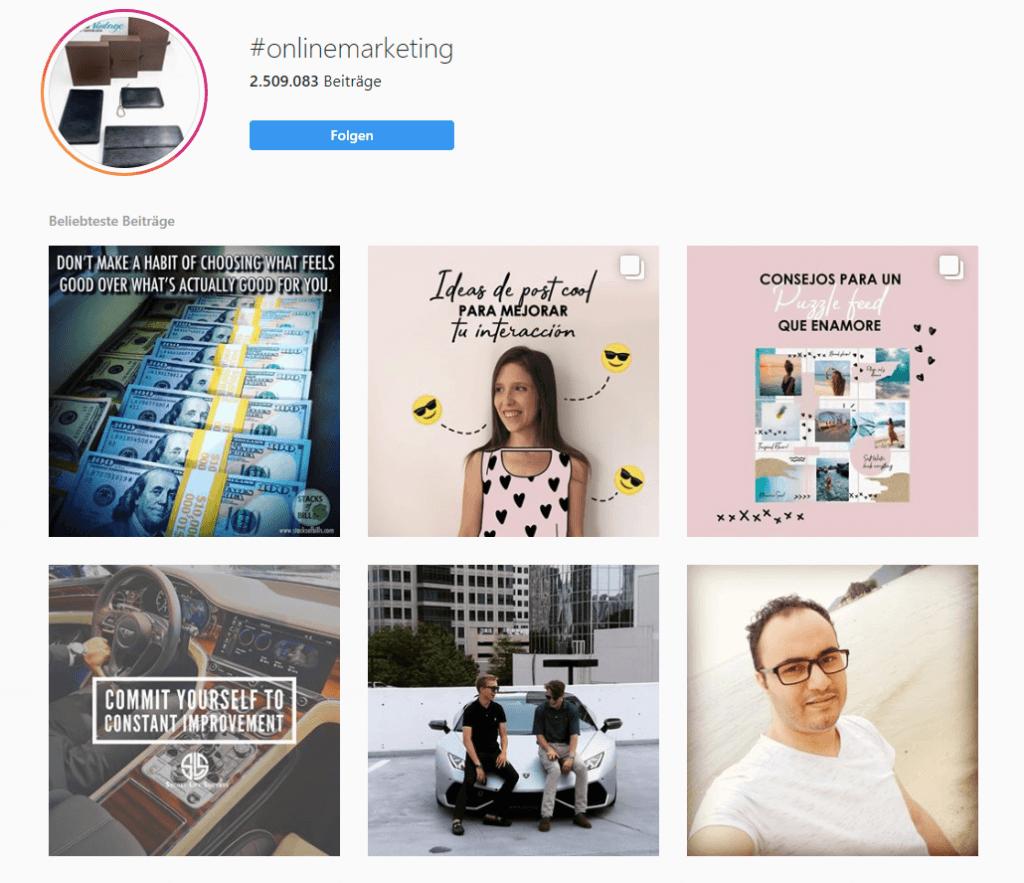 Instagram Feed nach Hashtag sortiert