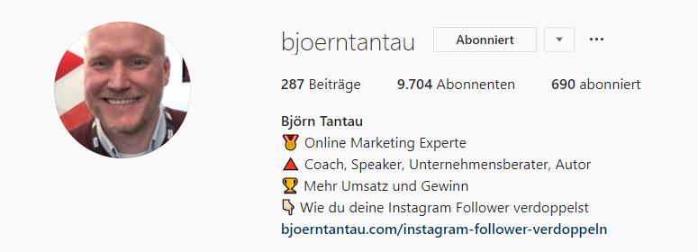 Screenshot der Instagram Bio von Björn Tantau