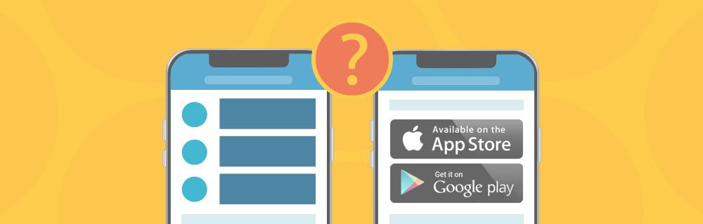 Zwei Smartphones mit Website im responsive Design und eine Website mit Progressive Web App